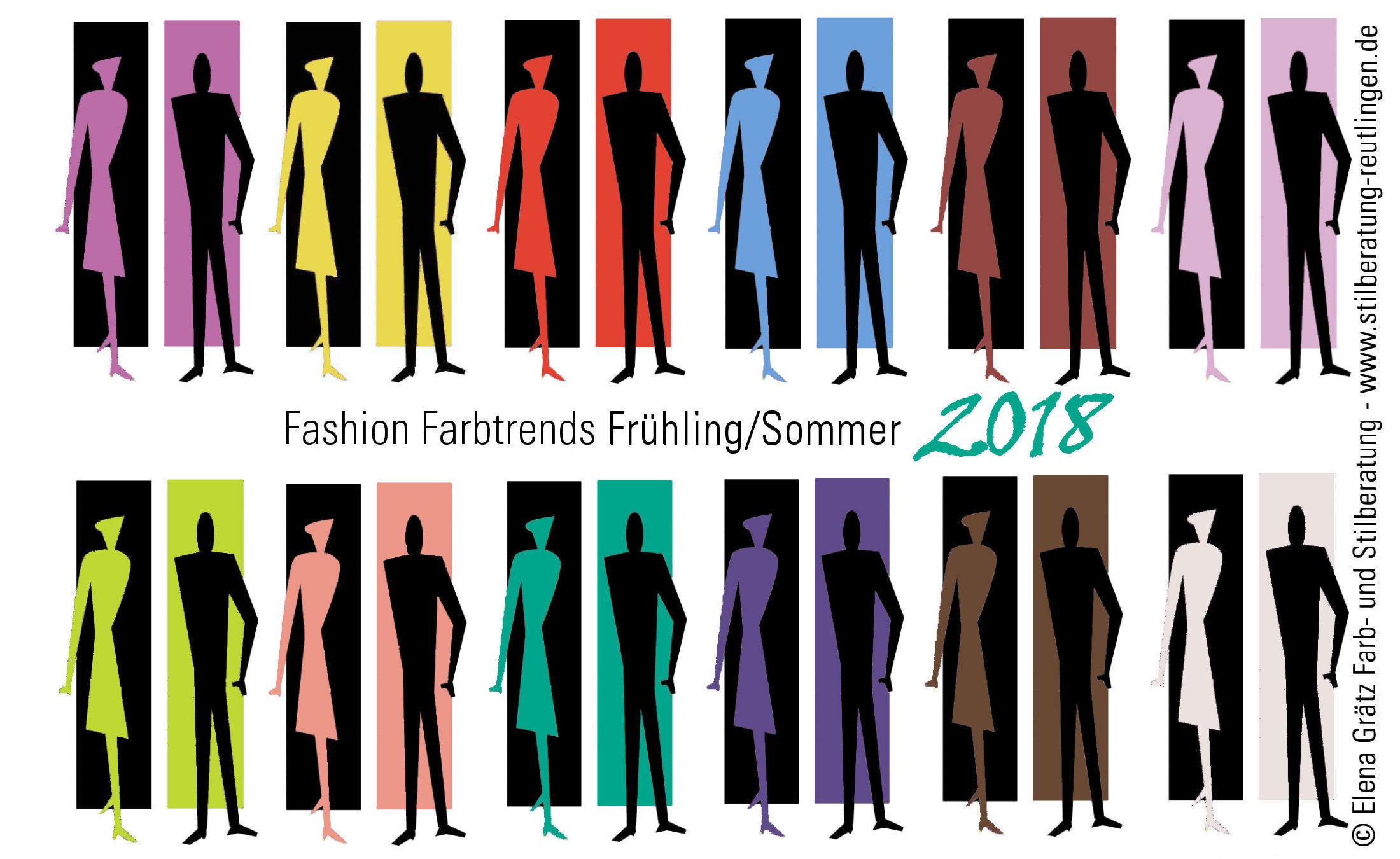 Übersicht der Trendfarben im Sommer 2018